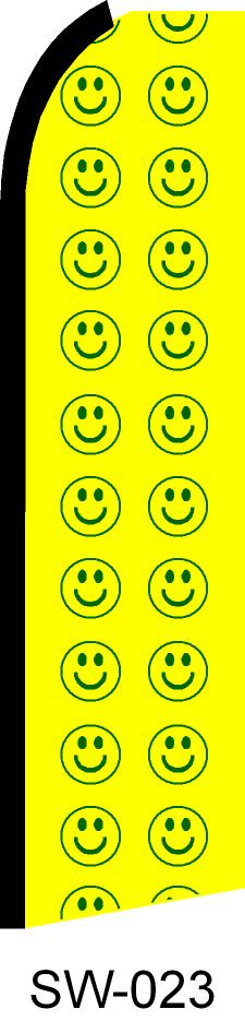 Yellow happy faces dealer swooper feather banner sign flag