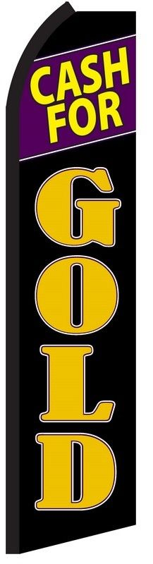 Cash for gold black/gold swooper feather banner sign flag