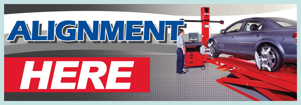 Alignment here banner sign 3x8ft