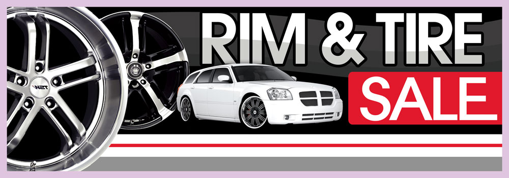 RIM AND TIRE SALE BANNER SIGN 3x10ft