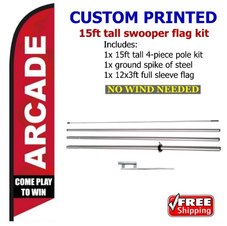ARCADE COME PLAY swooper feather banner sign flag
