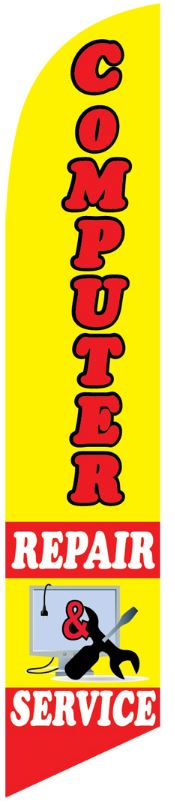 Computer repair service swooper banner sign flag yellow