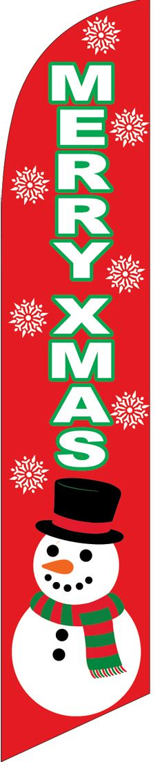 Merry Christmas snowman red swooper banner sign flag
