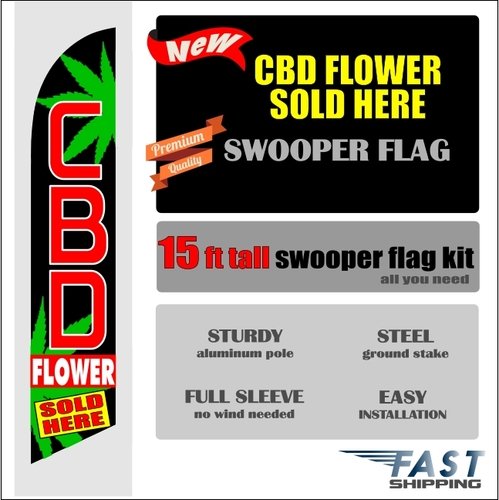 CBD FLOWER SOLD HERE swooper feather banner sign flag
