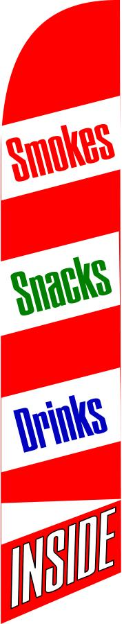 SMOKES SNACKS DRINKS INSIDE swooper banner sign flag