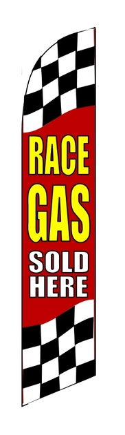 RACE GAS SOLD HERE custom swooper feather banner sign flag