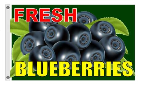 FRESH BLUEBERRIES flag banner 3x5ft