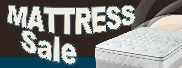 Mattress Sale large 3x8ft full color banner sign black blue