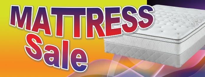 Mattress Sale large 3x8ft full color banner sign y/b/bl/r