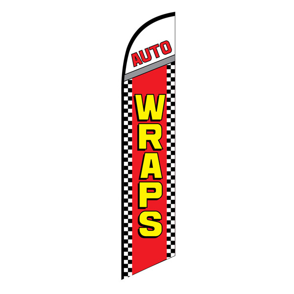 Auto WRAPS service swooper banner sign flag