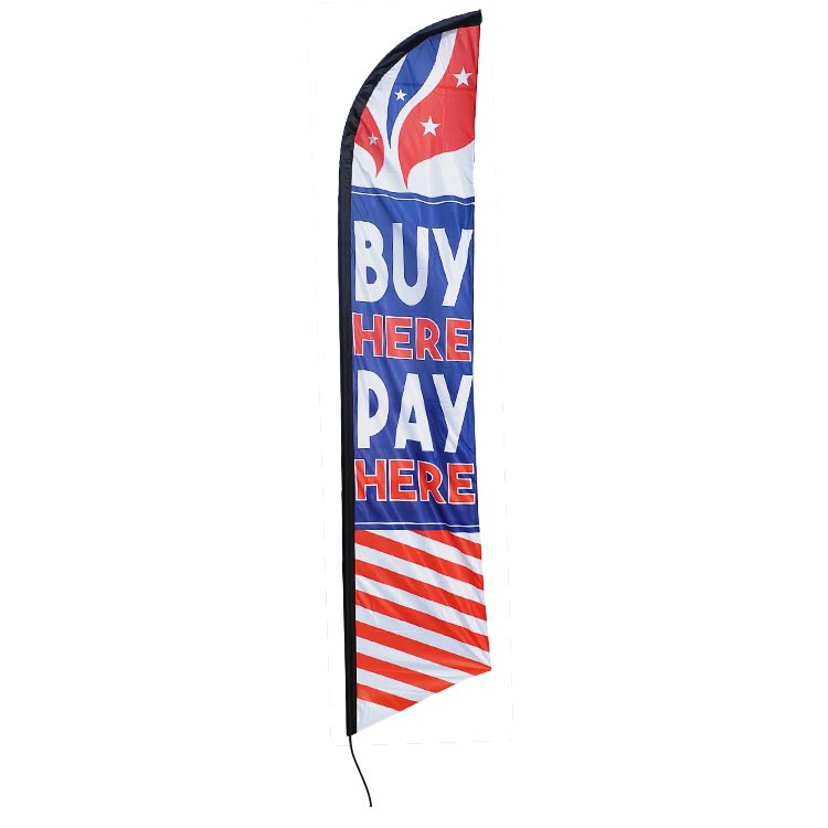 BUY HERE PAY HERE swooper feather banner sign flag