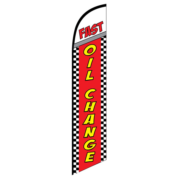 FAST Oil change super swooper feather flag banner checkered