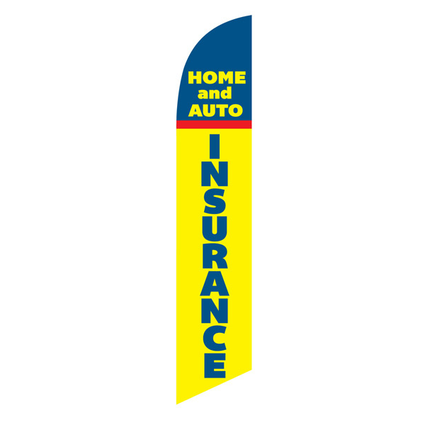 HOME AUTO INSURANCE swooper feather banner flag