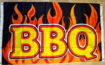 BBQ custom flag banner 3x5ft flames grommets both side