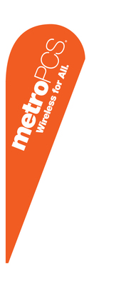 METRO PCS WIRELESS FOR ALL orange teardrop feather flag it