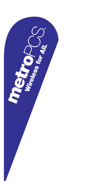 METRO PCS WIRELESS FOR ALL blue teardrop feather flag kit