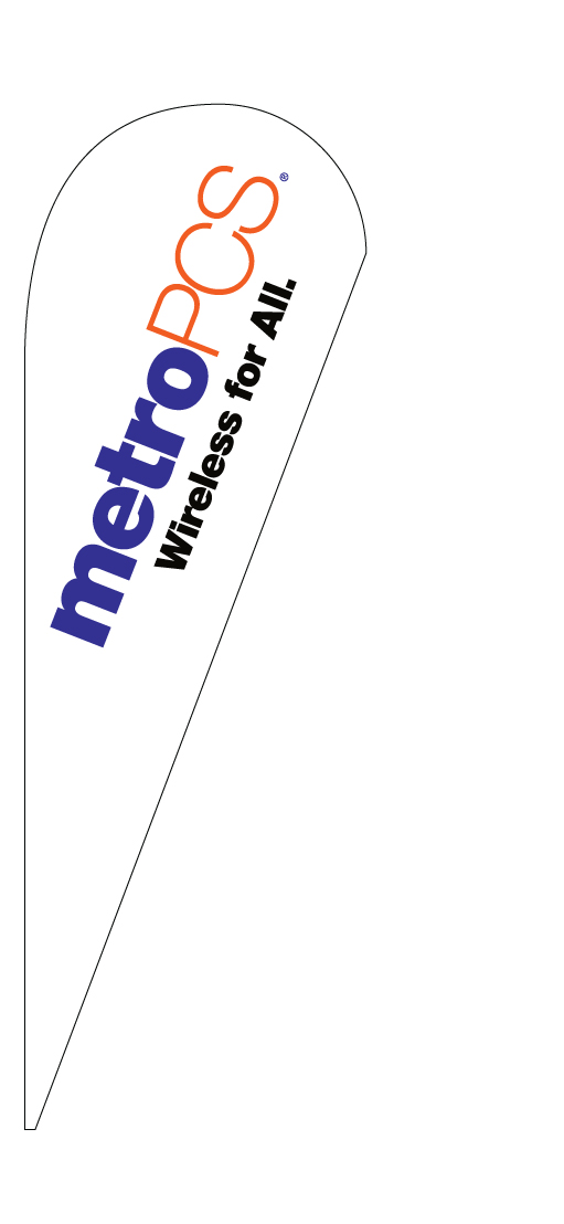 METRO PCS WIRELESS FOR ALL teardrop feather flag kit
