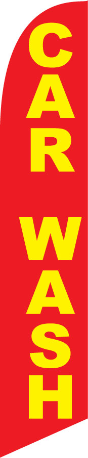 Car wash red/yellow swooper banner sign flag