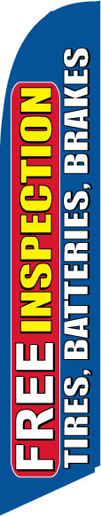 Free Inspections Tires Batteries swooper banner sign flag