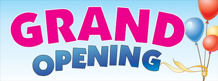 GRAND OPENING banner sign 3x8ft balloons
