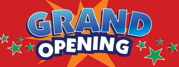 GRAND OPENING banner sign 3x8ft stars red background