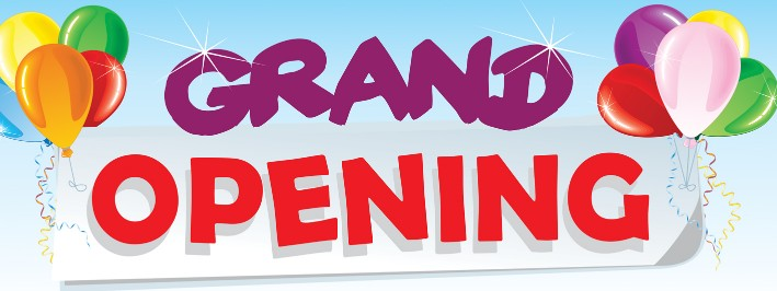 GRAND OPENING banner sign 3x8ft red balloons