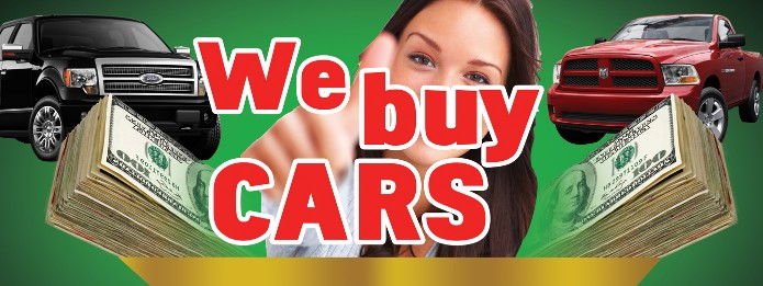 WE BUY CARS banner sign 3x8ft red balloons