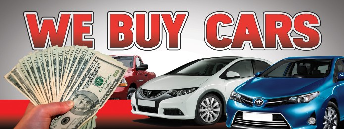 WE BUY CARS banner sign 3x8ft bills cars