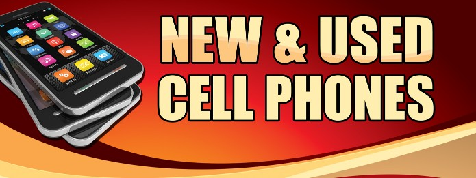 New and Used Cell Phones large 3x8ft full color banner sign