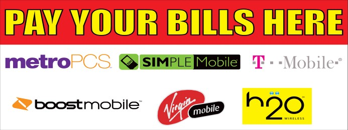 Pay your bill here phones large 3x8ft full color banner sign