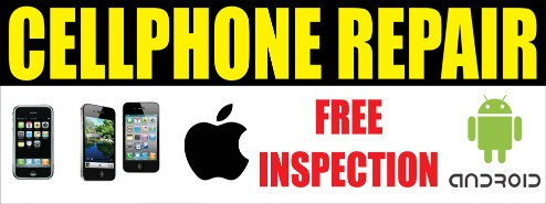 Cellphone mobil phone repairs large 3x8ft full color banner sign