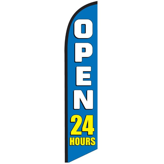 OPEN 24 HOURS swooper feather banner sign flag