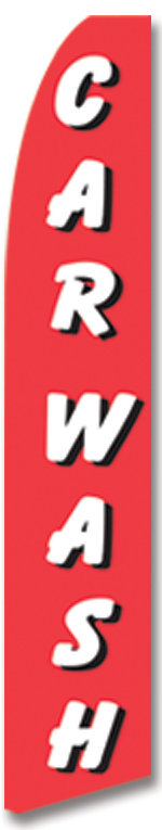 Car wash red white swooper banner sign flag