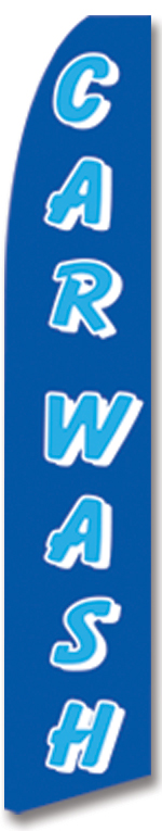 Car wash blue swooper banner sign flag