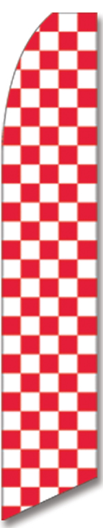 Checkered red/white swooper flag