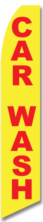 Car wash yellow red swooper banner flag