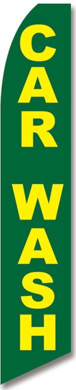 Car wash green yellow swooper banner sign flag