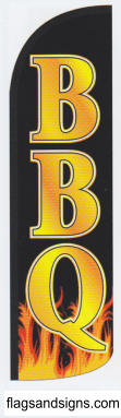 BBQ barbeque restaurant swooper feather banner sign flag