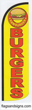Burgers yellow swooper feather banner sign flag