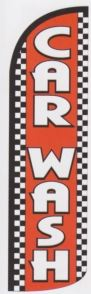 Car wash super size red swooper banner sign flag checkered