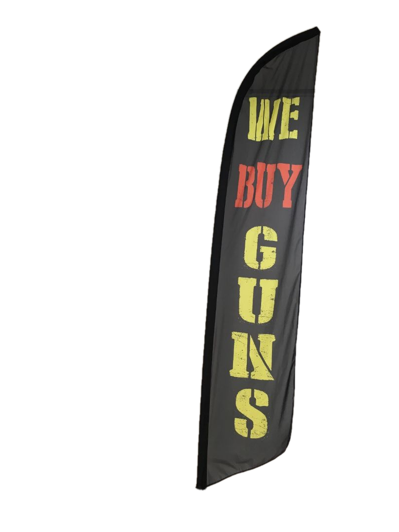 WE BUY GUNS swooper feather banner sign flag