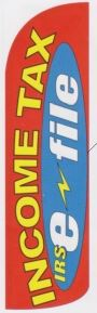 Income Tax IRS e-file super size swooper banner sign flag red