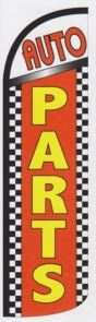 Auto parts super size swooper feather flag banner checkered
