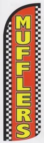 Auto mufflers super size swooper feather flag checkered - Click Image to Close
