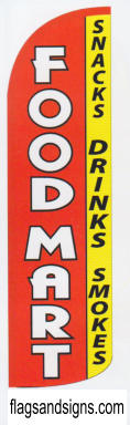 Food mart snacks drinks smoke swooper feather banner sign flag - Click Image to Close