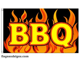 BBQ custom flag banner 3x5ft flames