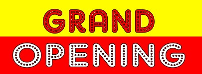 GRAND OPENING banner sign 3x8ft red yellow