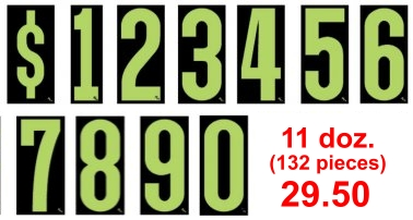 Auto dealer vehicle windshield number price stickers green/black