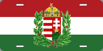 Hungarian flag with crest license plate