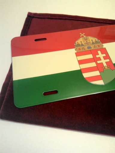 Hungarian flag with crest license plate with velvet pouch